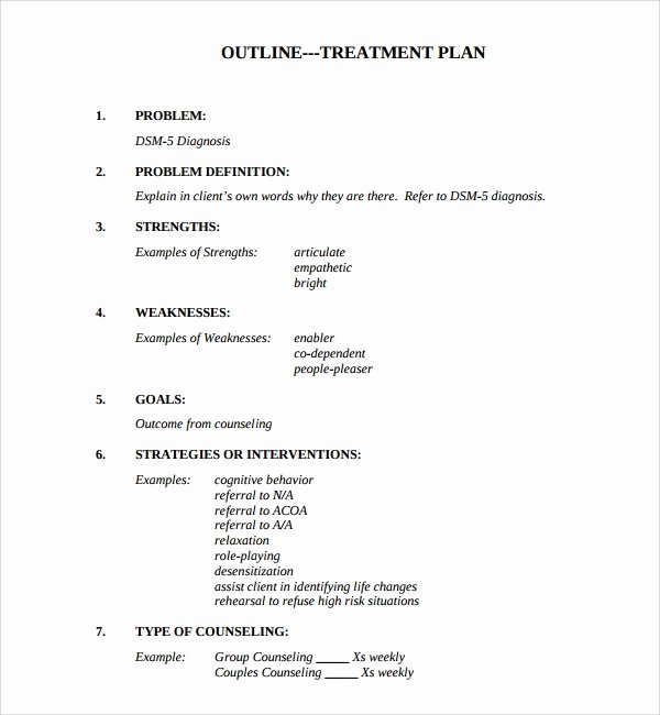 Counseling Treatment Plan Template Lovely 8 Treatment Plan Templates