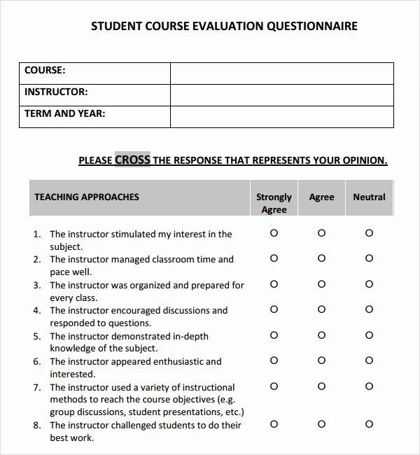 Course Evaluation form Template Beautiful 5 Sample Course Evaluation Templates to Download