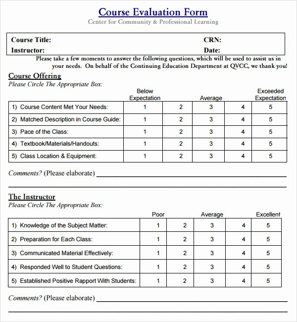 Course Evaluation form Template Fresh Class Evaluation Template 10 Free Download for Pdf