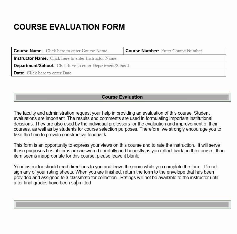 Course Evaluation form Template Fresh Course Evaluation form