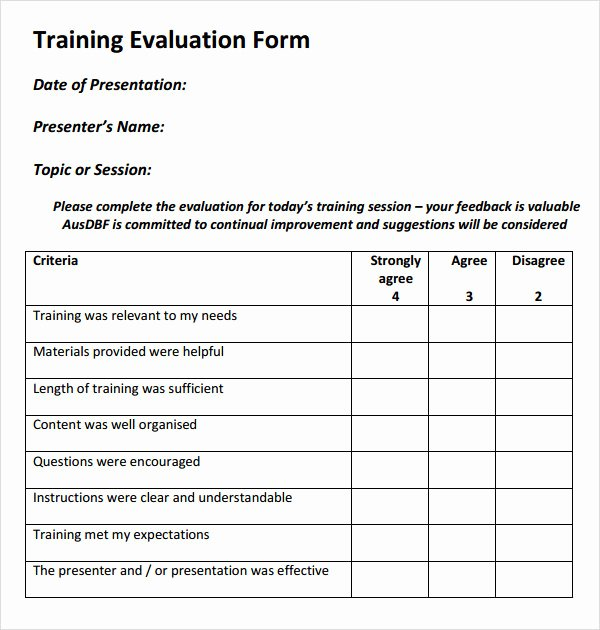 Course Evaluation form Template Inspirational 15 Sample Training Evaluation forms – Pdf