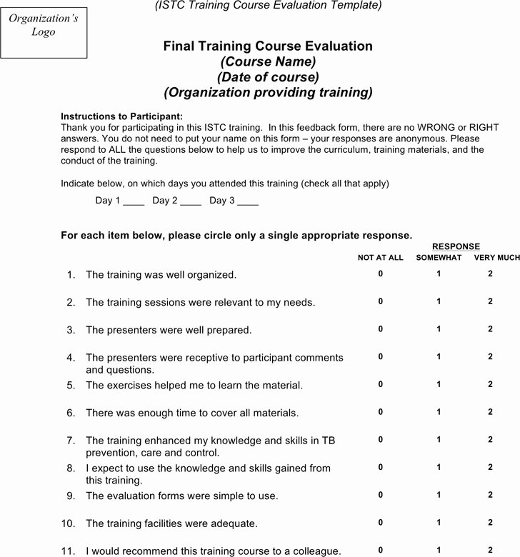Course Evaluation form Template Inspirational 3 Training Evaluation form Free Download