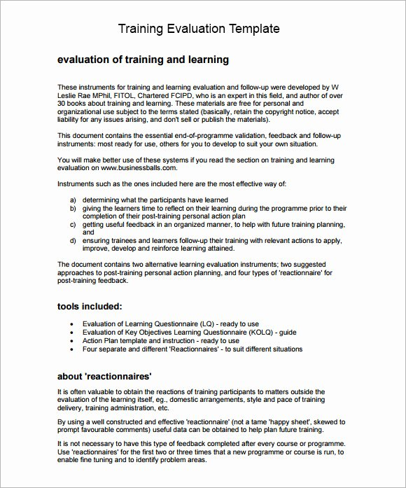 Course Evaluation form Template Unique 9 Training Evaluation form Sample – Free Examples & format