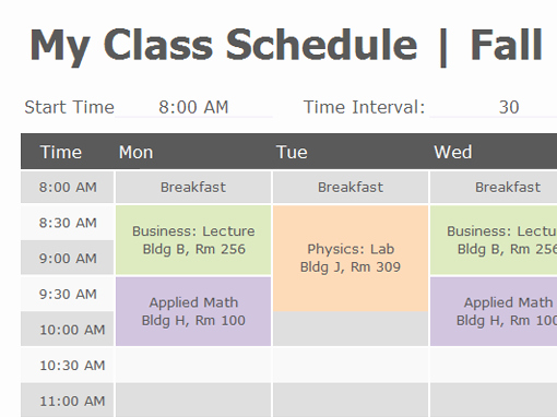 Course Schedule Planner Template Awesome Class Schedule Fice Templates