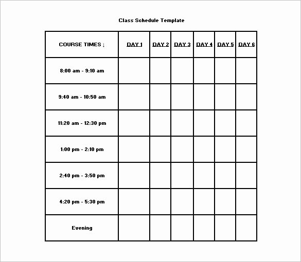 Course Schedule Planner Template Best Of Class Schedule Template – 8 Free Sample Example format