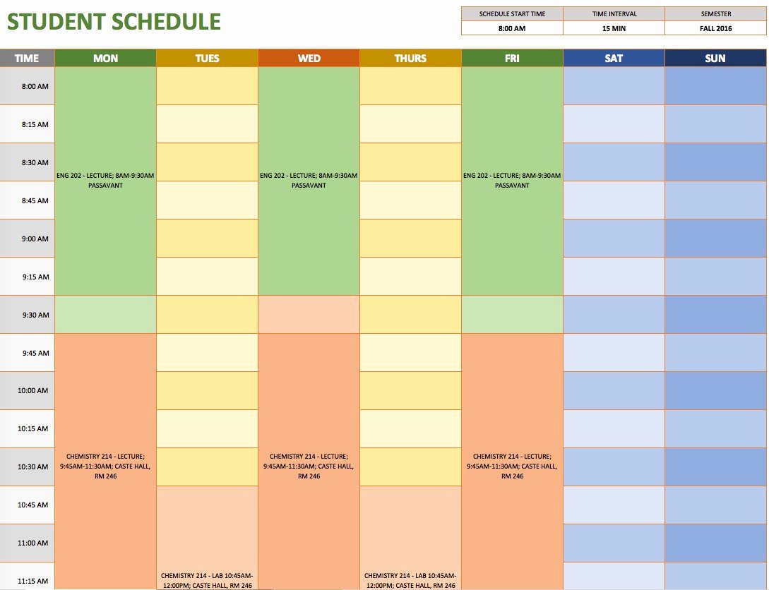 Course Schedule Planner Template Best Of Free Weekly Schedule Templates for Excel Smartsheet
