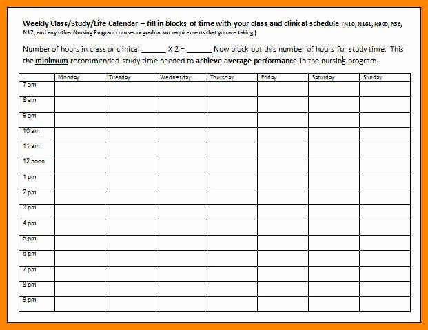 Course Schedule Planner Template Fresh College Class Schedule