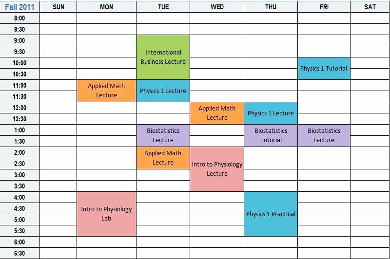 Course Schedule Planner Template Inspirational Plan College Schedule Course Planner Template Calendar