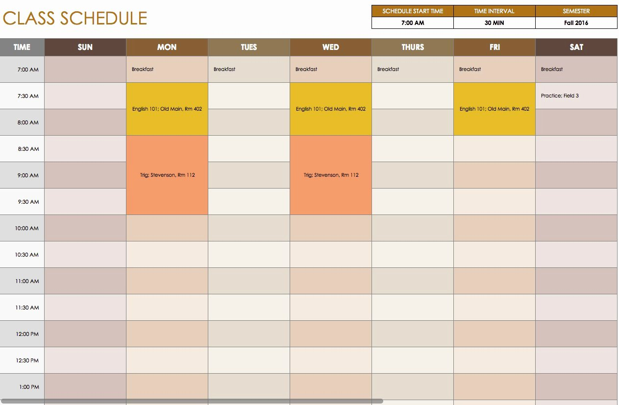 Course Schedule Planner Template New Free Daily Schedule Templates for Excel Smartsheet