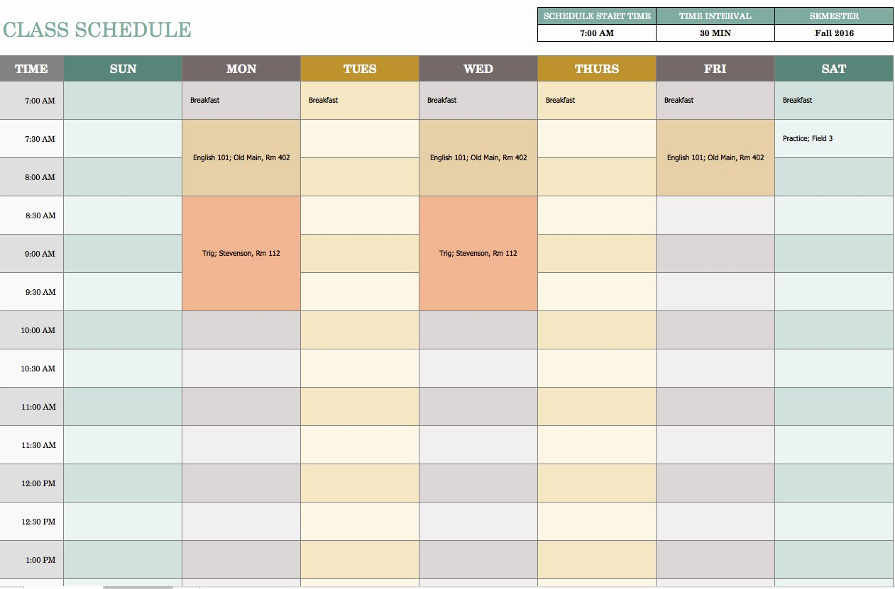 Course Schedule Planner Template New Free Weekly Schedule Templates for Excel Smartsheet