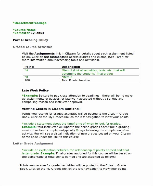 Course Syllabus Template for Teachers Beautiful Syllabus Template 7 Free Word Documents Download