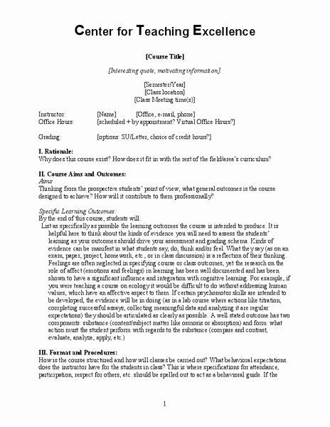 Course Syllabus Template for Teachers Best Of Center for Teaching Excellence Syllabus Template