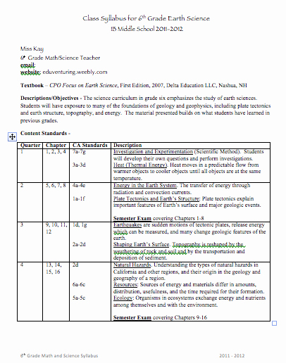 Course Syllabus Template for Teachers Elegant Back to School Middle School Syllabus Template Good