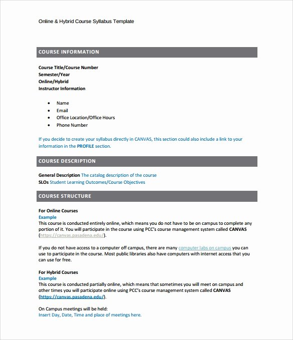 Course Syllabus Template for Teachers Elegant Sample Syllabus Template 8 Free Documents Download In Pdf
