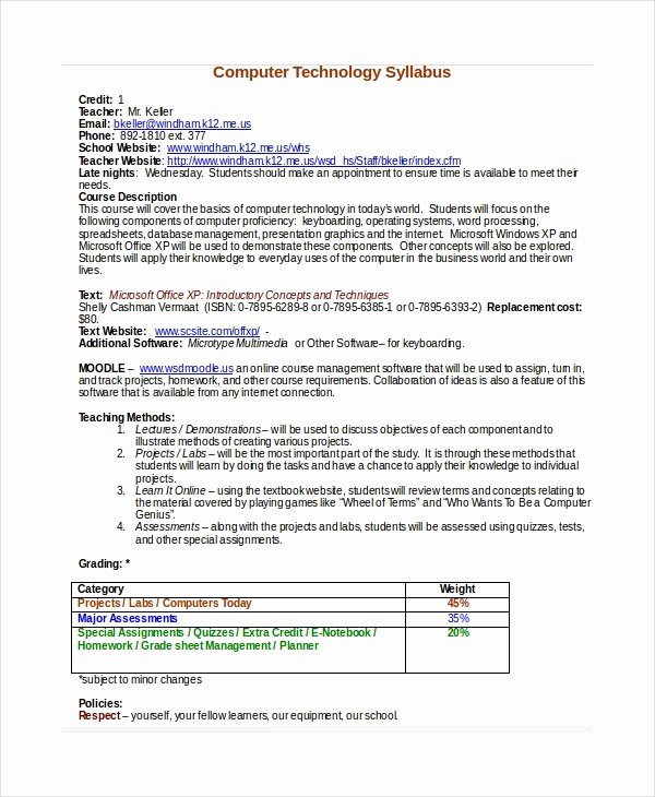 Course Syllabus Template for Teachers Elegant Syllabus Template 7 Free Word Documents Download