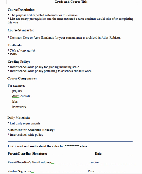 Course Syllabus Template for Teachers New Gaining A New Perspective In A foreign Land