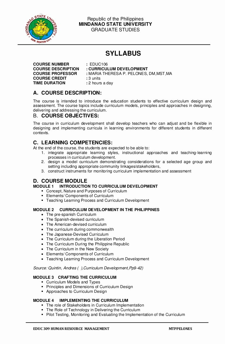 Course Syllabus Template for Teachers New Syllabus Educ 106 Curriculum Development