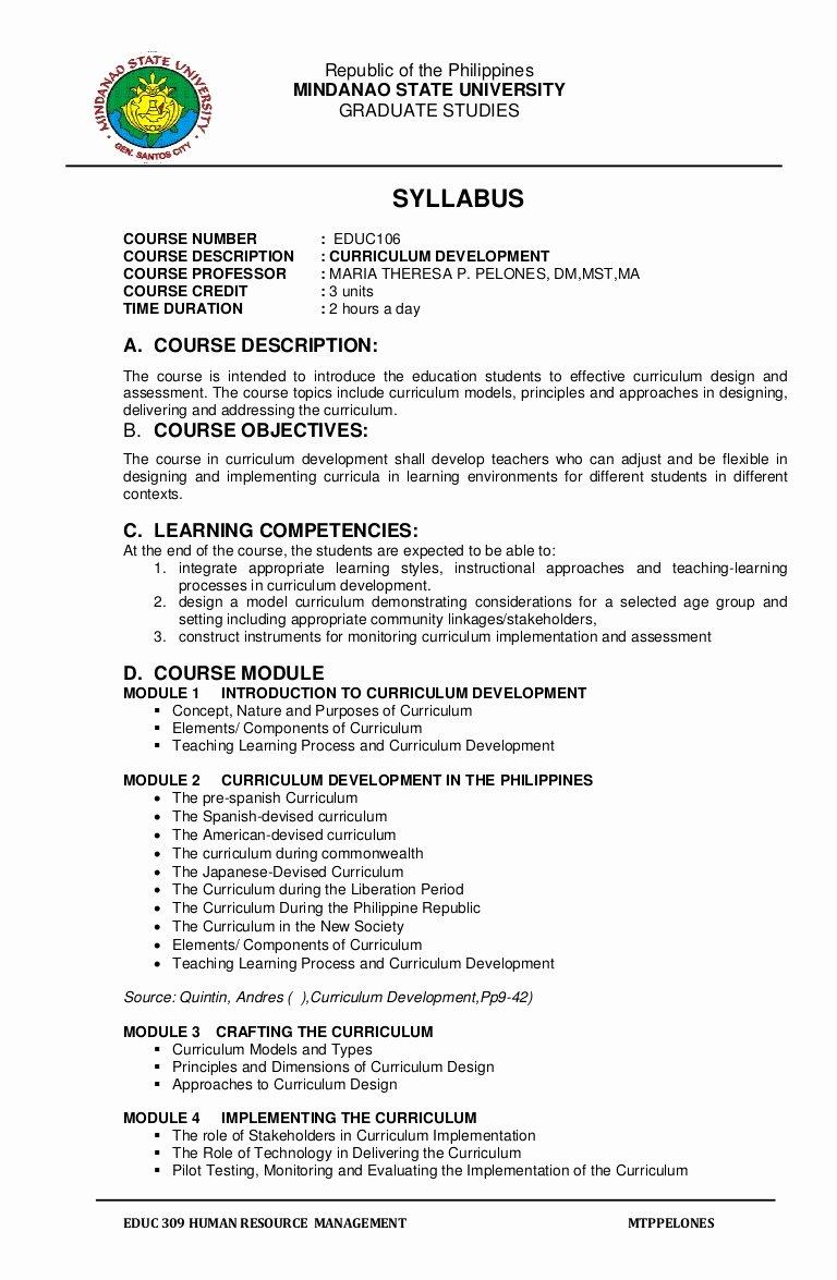 Course Syllabus Template for Teachers New Syllabus Educ 106 Curriculum Development
