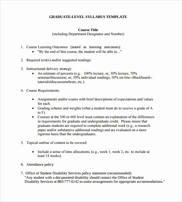 Course Syllabus Template for Teachers Unique Sample Syllabus Template 8 Free Documents Download In Pdf