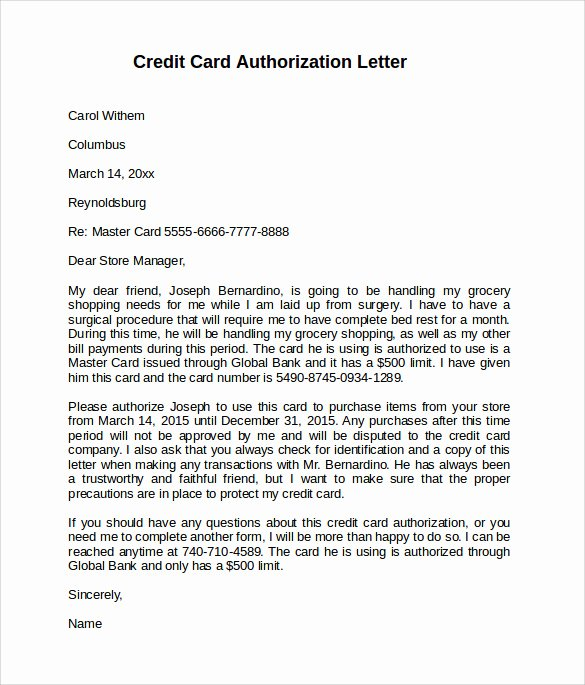 Credit Card Authorization Letter Template Awesome 10 Credit Card Authorization Letters to Download