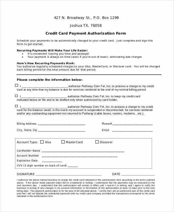 Credit Card Authorization Letter Template Best Of 8 Sample Credit Card Authorization forms