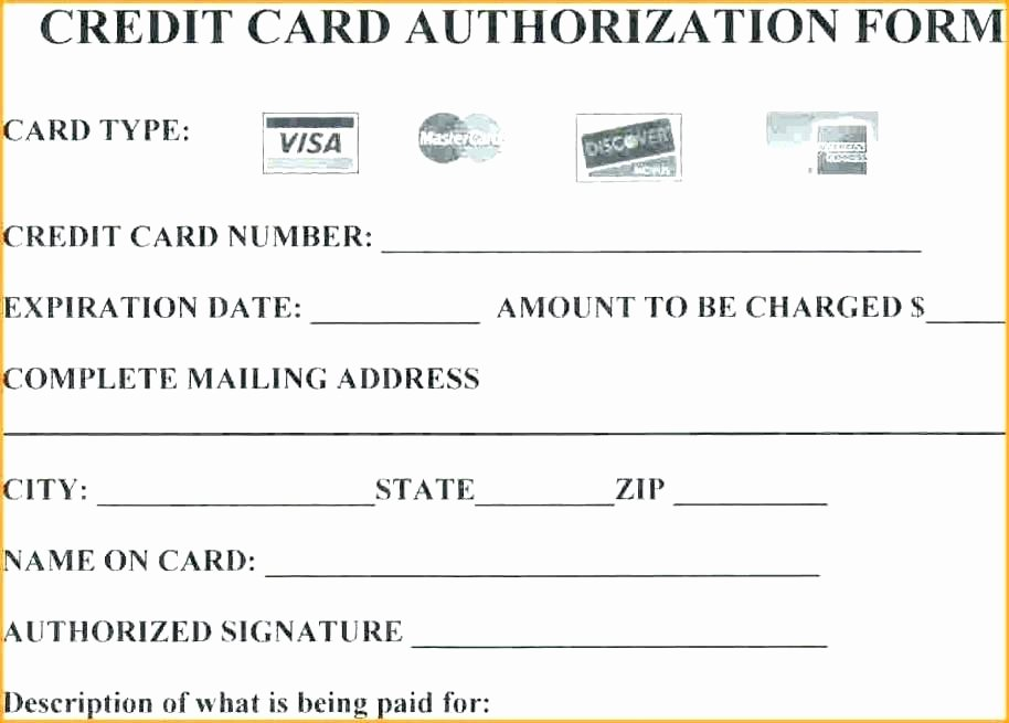 Credit Card Authorization Letter Template Inspirational Credit Card form Template Credit Card Authorization form