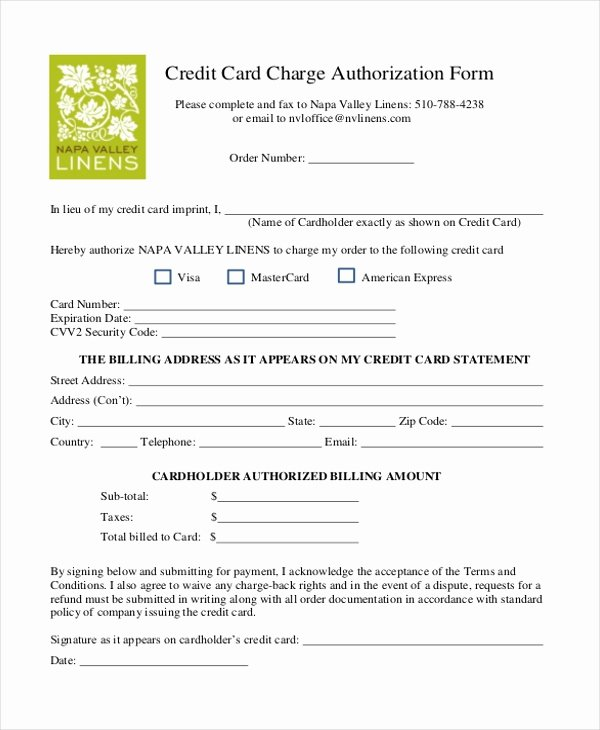 Credit Card Authorization Letter Template Inspirational Sample Credit Card Authorization form 12 Free Documents