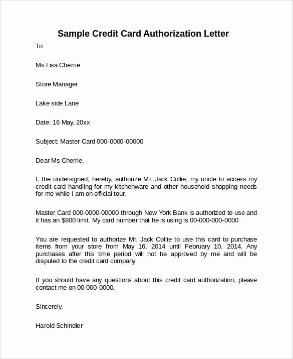 Credit Card Authorization Letter Template Lovely 10 Credit Card Authorization Letters to Download
