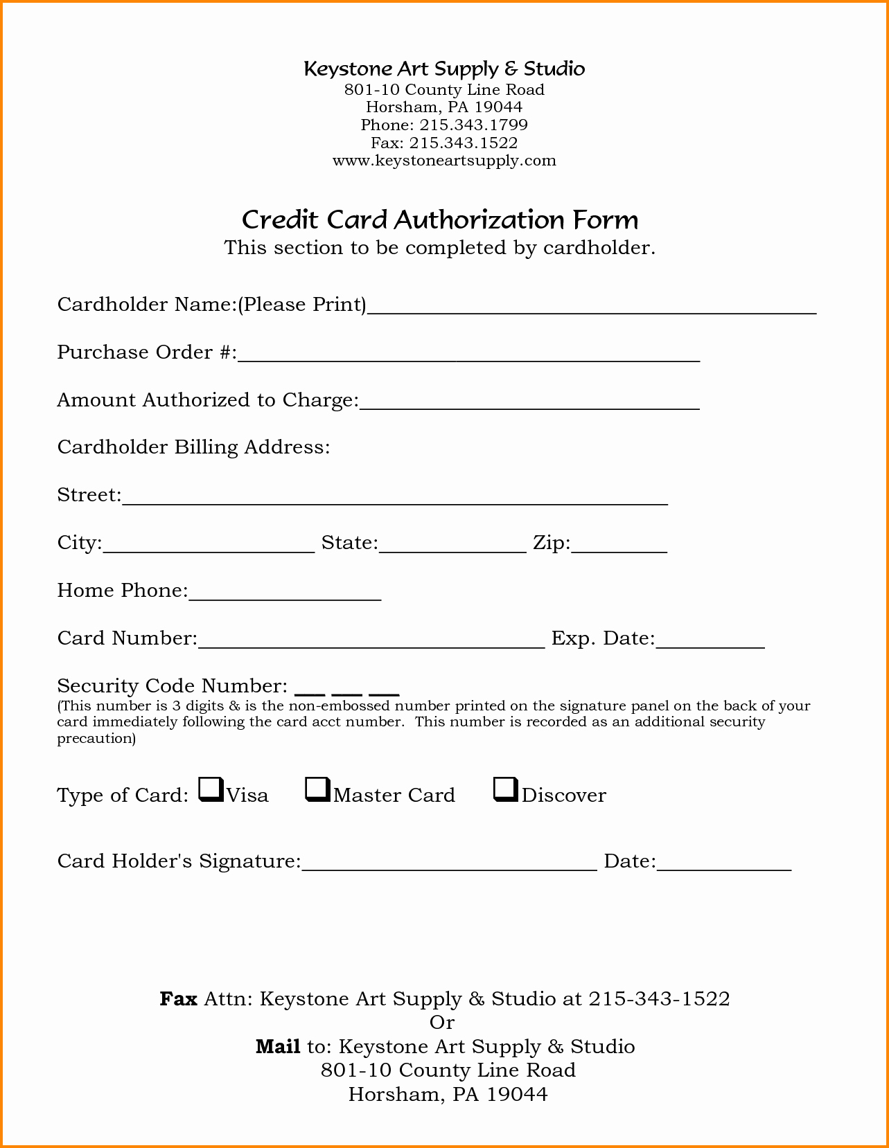 Credit Card Authorization Letter Template Lovely 8 Credit Card Authorization form Template