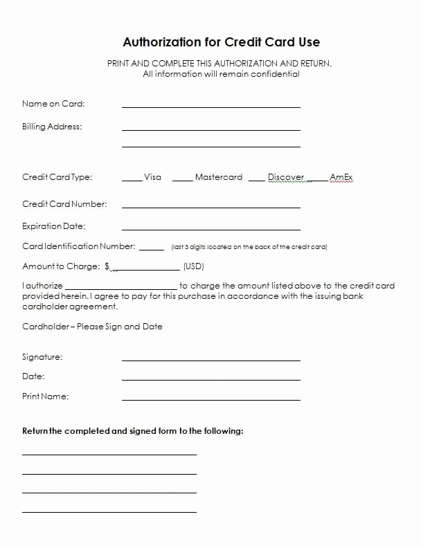 Credit Card Authorization Letter Template Luxury 5 Credit Card Authorization form Templates formats