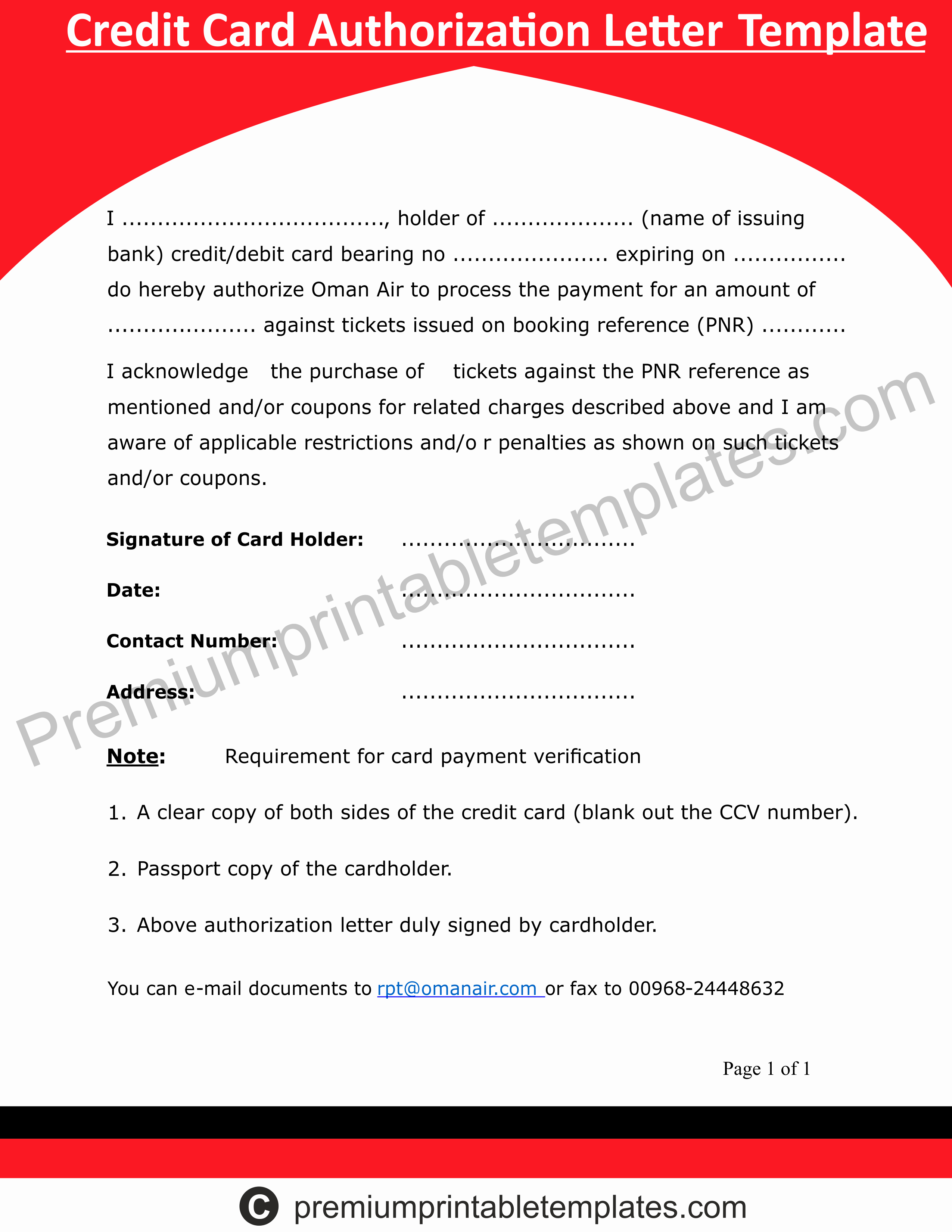 Credit Card Authorization Letter Template New Credit Card Authorization Letter Templates – Premium