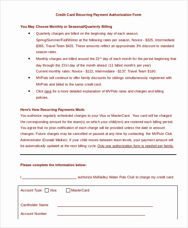 Credit Card Authorization Letter Template Unique Credit Card Authorization form Template 10 Free Sample