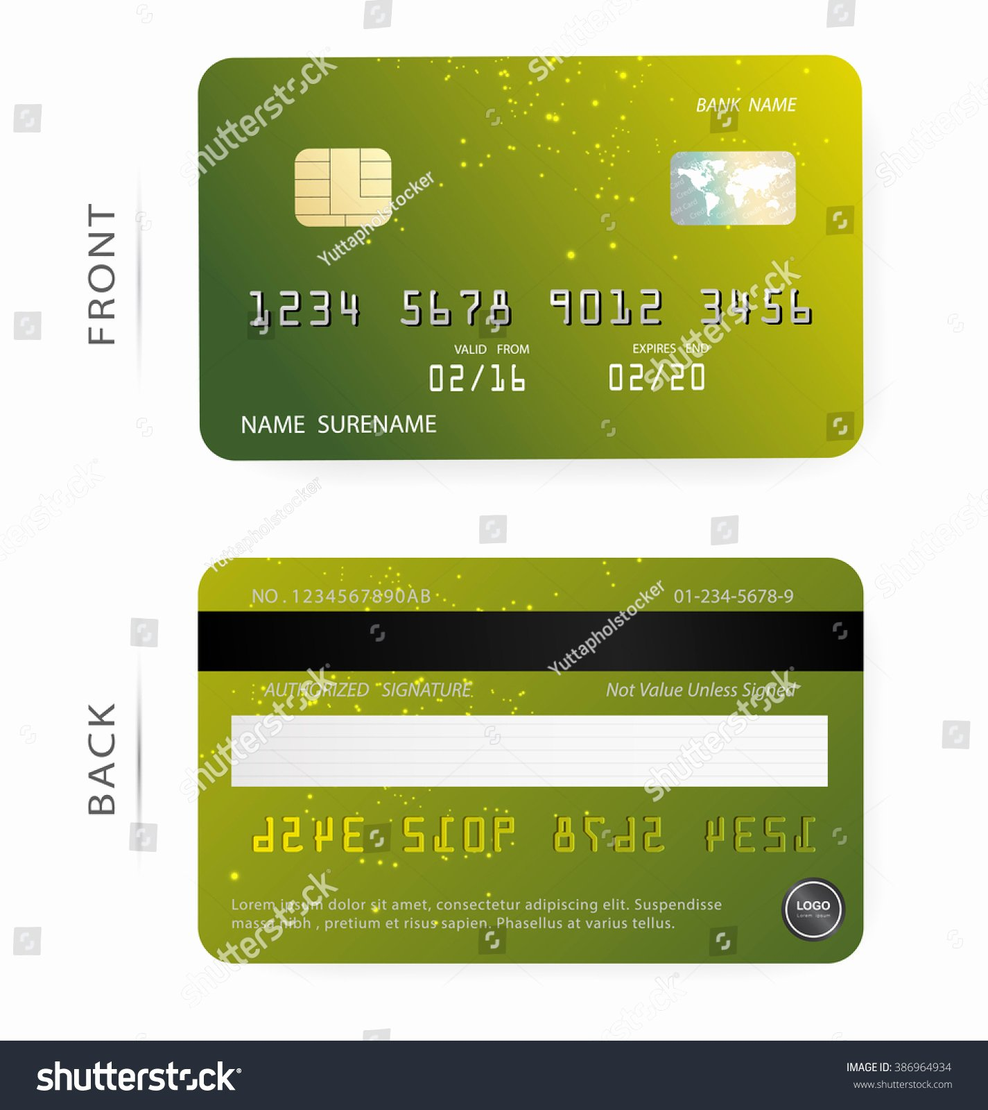 Credit Card Design Template Elegant Vectorgreen orange Abstract Bright Stars Patterns Stock
