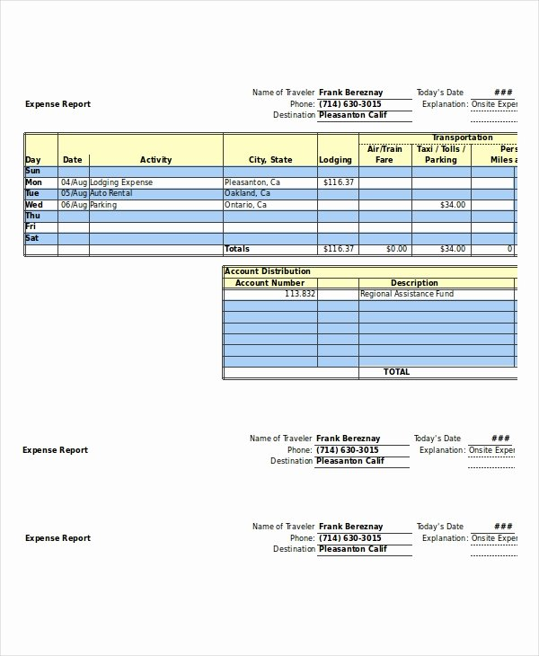 Credit Card Expense Report Template Fresh Expense Report 11 Free Word Excel Pdf Documents