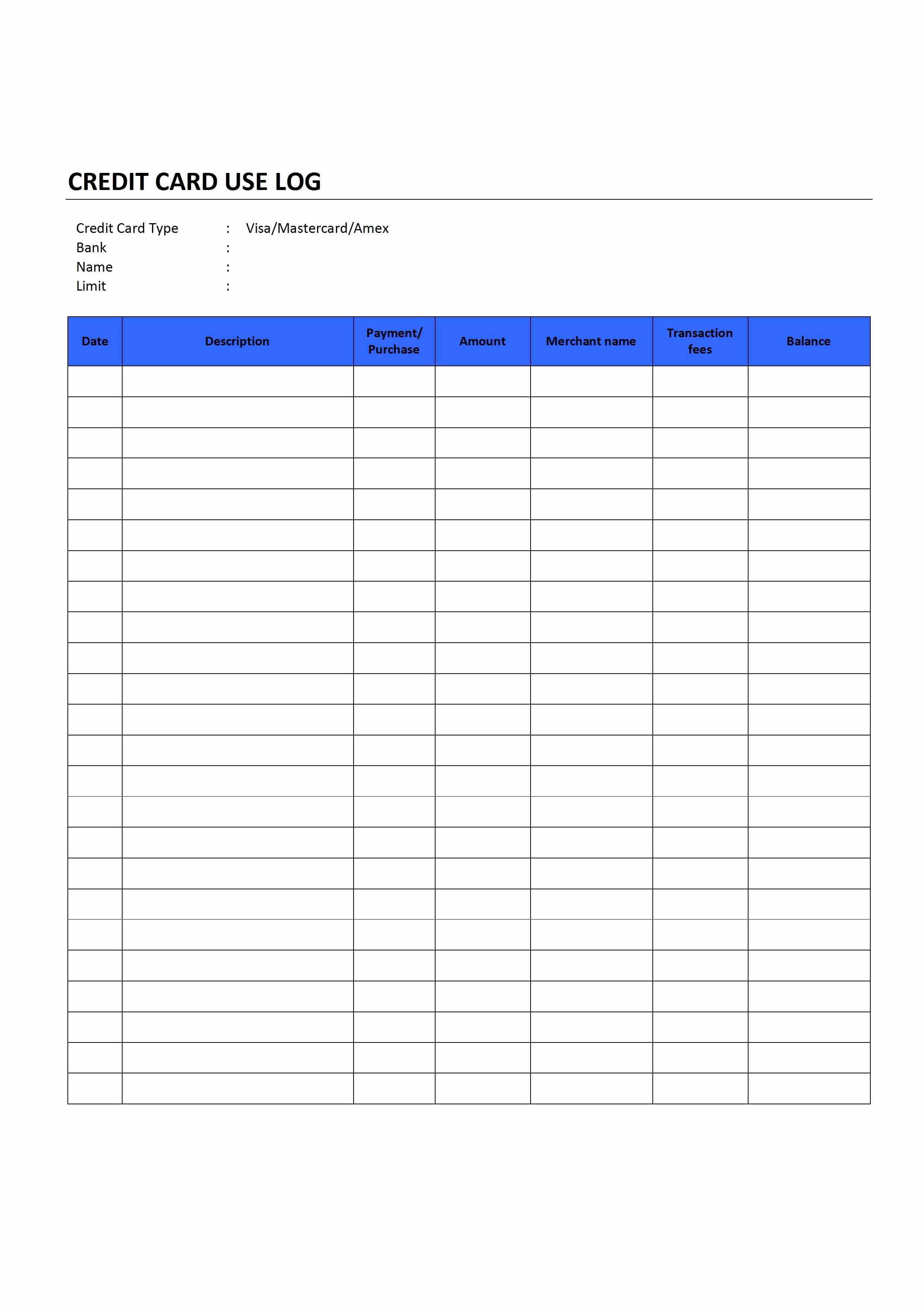 Credit Card Expense Report Template Lovely Credit Card Use Log