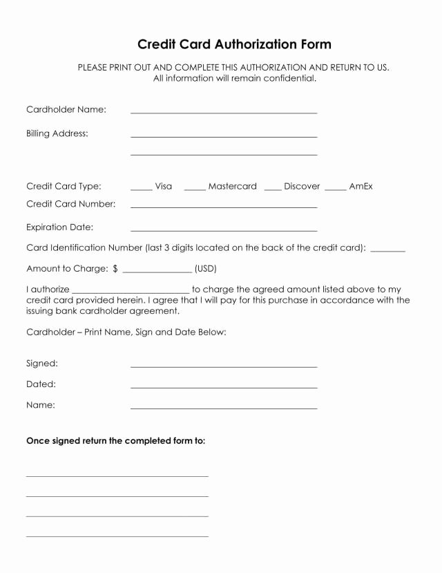 Credit Card form Template Awesome Authorization for Credit Card Use Free forms Download