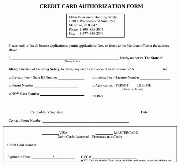 Credit Card form Template Beautiful Authorization for Credit Card Use Free forms Download