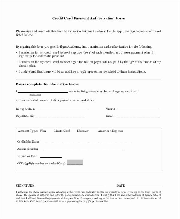 Credit Card form Template Beautiful Authorization form Templates