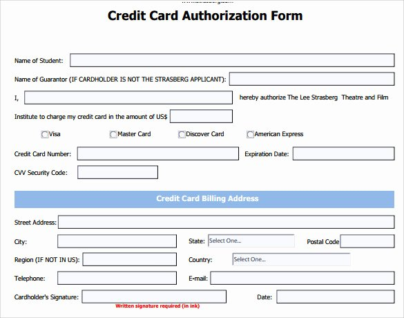 Credit Card form Template Elegant 7 Credit Card Authorization forms to Download