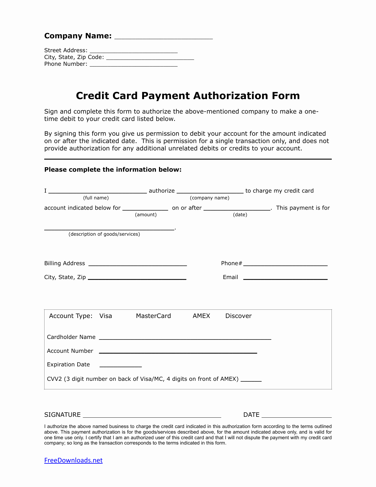 Credit Card form Template Elegant Download E 1 Time Credit Card Authorization Payment