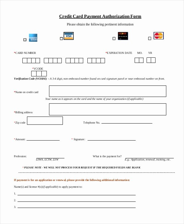 Credit Card form Template Elegant Sample Credit Card Authorization form 12 Free Documents