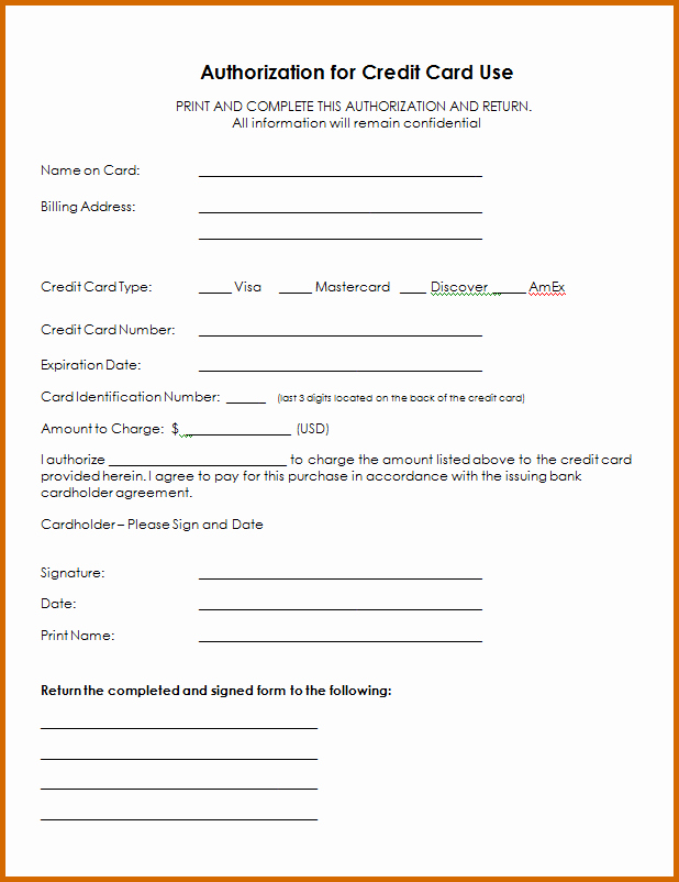 Credit Card form Template Fresh 13 Printable Credit Card Authorization form