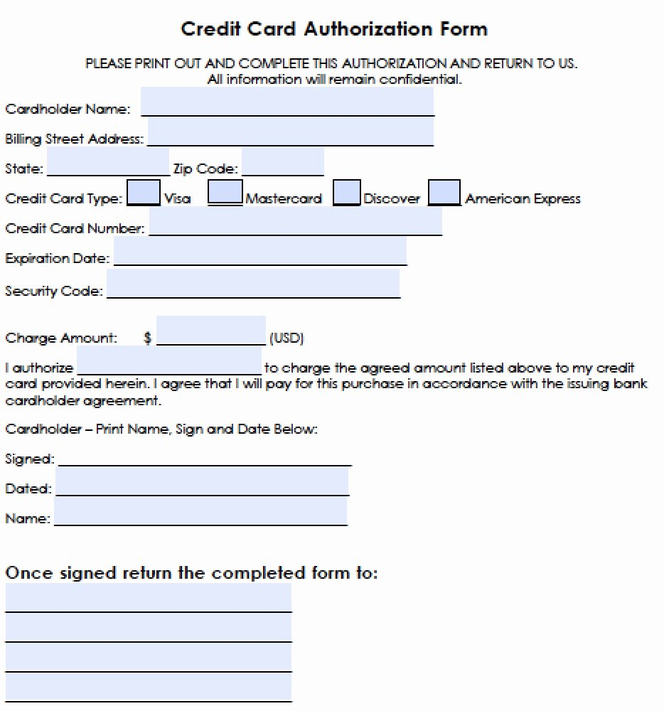 Credit Card form Template Fresh Download Generic Credit Card Authorization forms Wikidownload