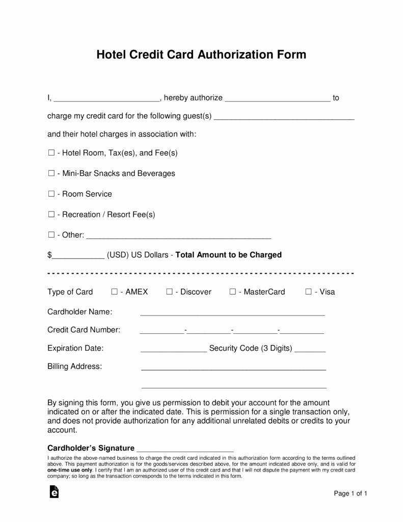 Credit Card form Template Luxury Free Hotel Credit Card Authorization forms Word