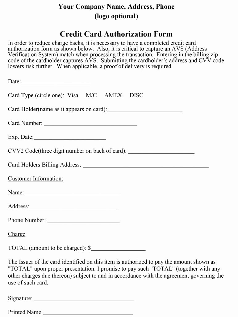 Credit Card form Template New How to Properly Craft A Credit Card Authorization form