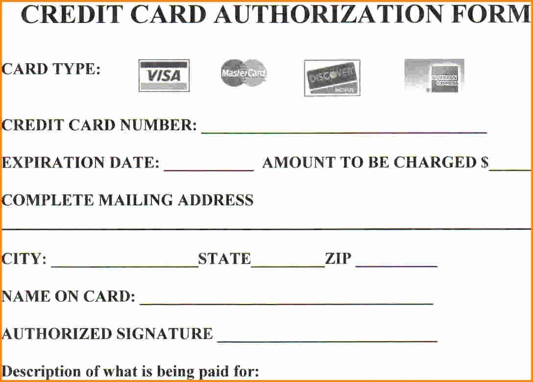 Credit Card form Template Unique 25 Credit Card Authorization form Template Free Download