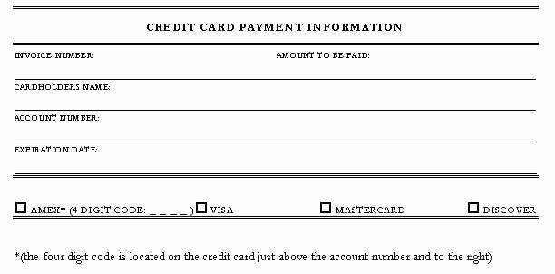 Credit Card form Template Unique 5 Credit Card Authorization form Templates formats