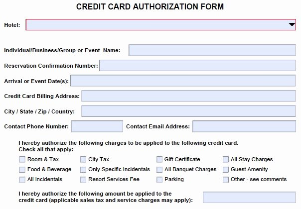 Credit Card form Template Unique Credit Card Authorization form