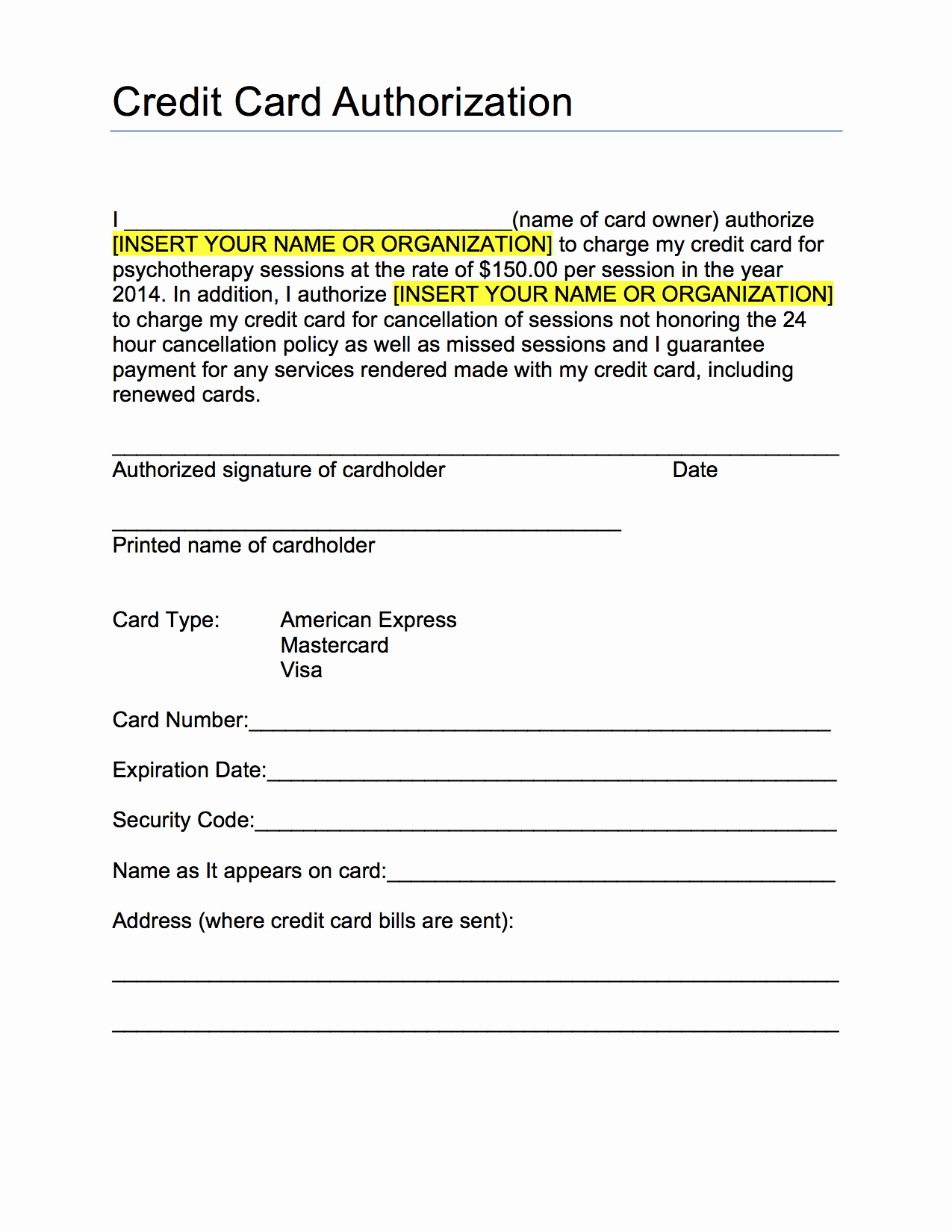 Credit Card form Template Unique Credit Card Authorization form Template Pdf Pdf Mughals