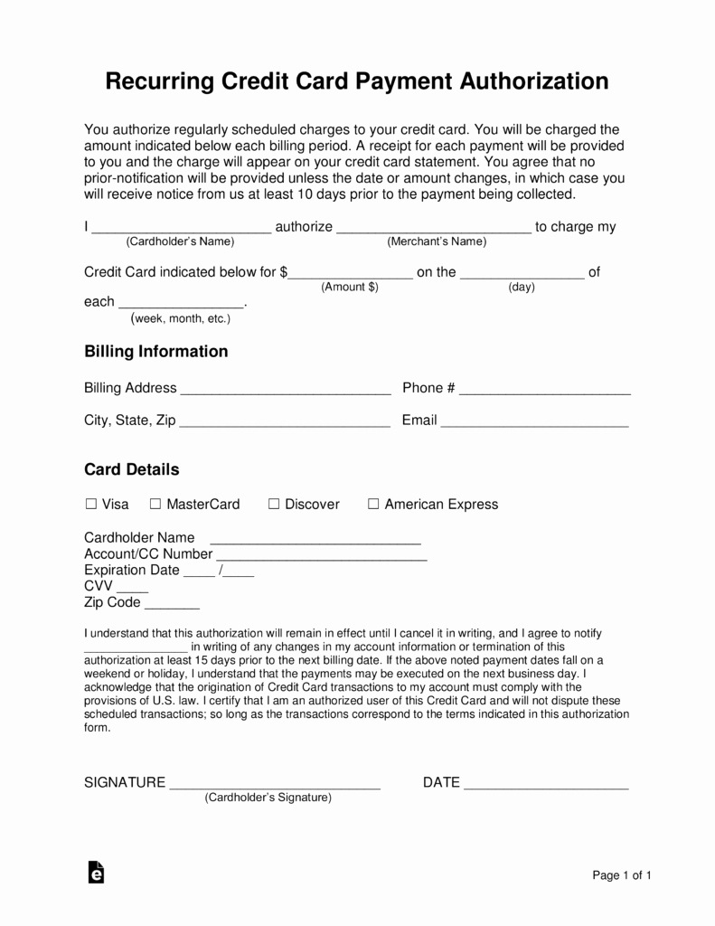 Credit Card Payment form Template Awesome Free Recurring Credit Card Authorization form Word